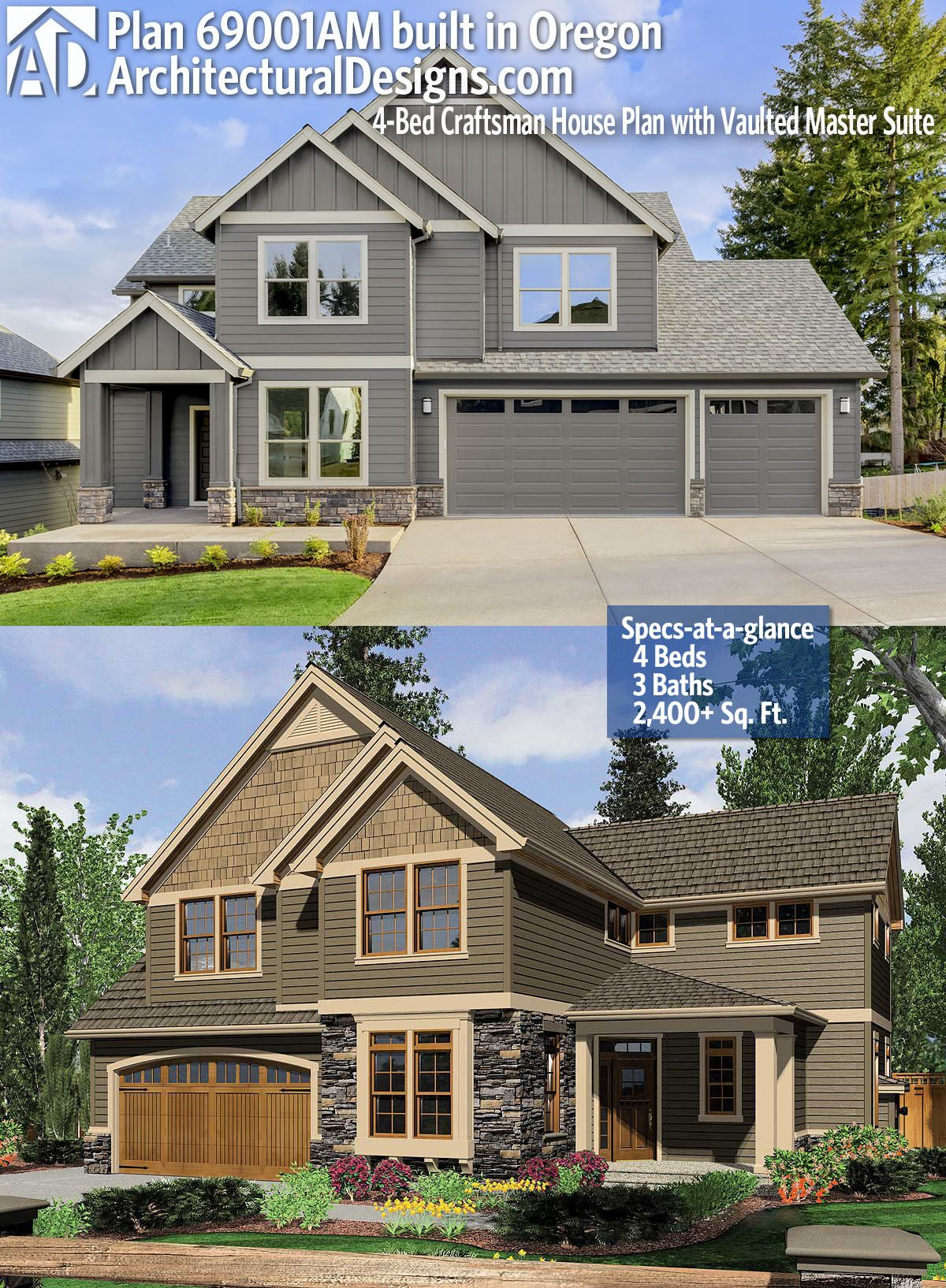 Plan 69001AM: 4-Bed Craftsman House Plan with Vaulted Master Suite on square foundation house plans, 2 beds house plans, single level house plans, southern house plans, 2400 sq foot home, 24 foot house plans, range house plans, 4 bedroom house plans, family living house plans, 2400 sf house plans, slab house plans, craftsman ranch house plans, 3 beds house plans, vinyl siding house plans, 2400 sq ft home building designs, 1900 sq foot house plans, 640 sq ft. house plans, two story house plans, 2400 sq ft garden,