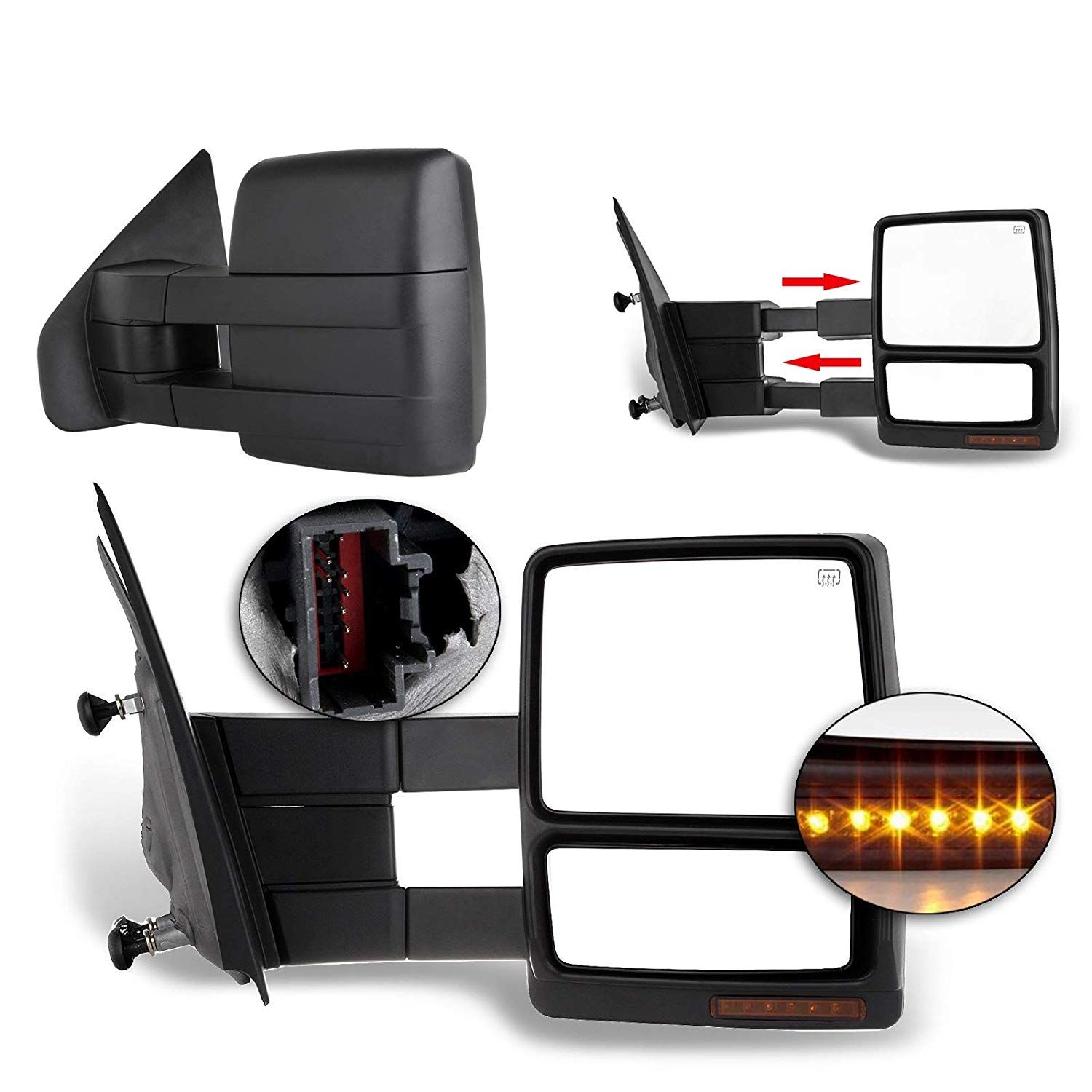 Eccpp Towing Mirrors Replacement Fit For 2004 2014 F150 Pickup Side View Mirrors Power Heated Towing Led Turn Signal Pair Towing Mirrors F150 Towing Mirror