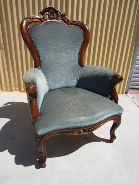 This is a gorgeous hand carved Antique Victorian arm chair that is made out of walnut and dates from 1880-1890. Description from mrbeasleys.com. I searched for this on bing.com/images