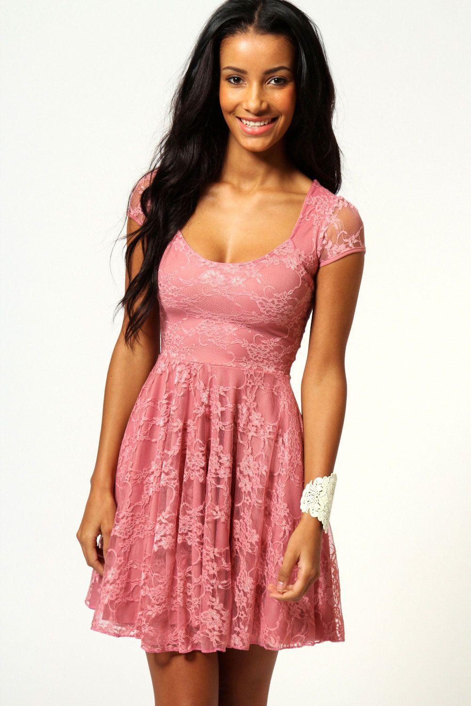 Caroline Cap Sleeve Lace Skater Dress | Hola y Vestiditos