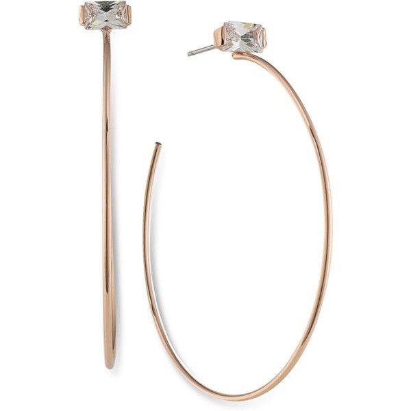 Lauren Ralph Lauren Rose GoldTone Crystal Studded Hoop Earrings 55