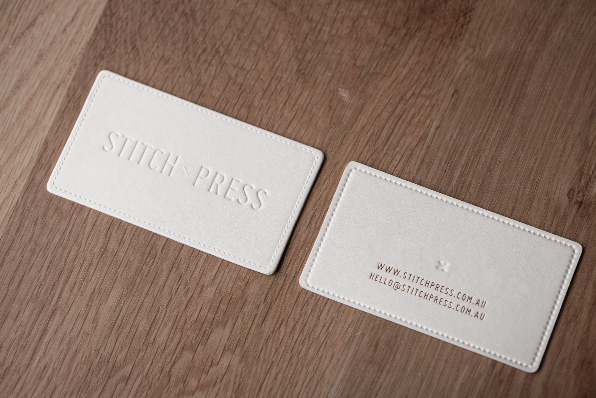 Foiling Business Card Stitch Press Business Card Blind Deboss