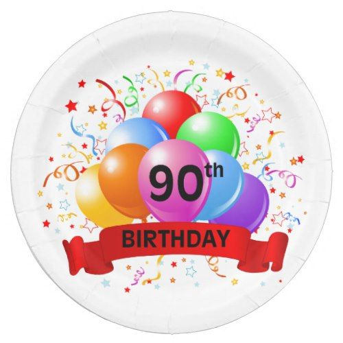 90th Birthday Banner Balloons Paper Plate