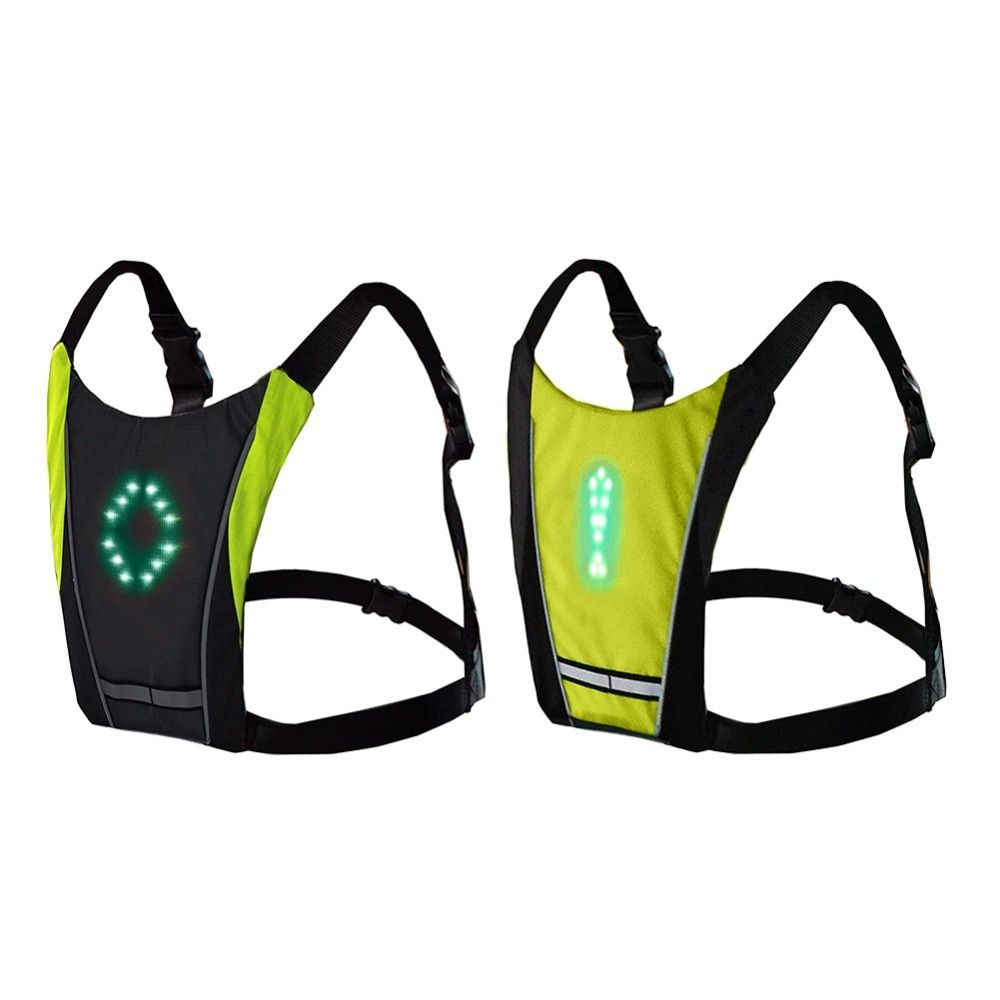 Bike Remote Control LED Direction Indicator Vest Reflective For Cycling Running Walking Safety At Night Waterproof Cycling Backpack Accessory W//LED Turn Signal Light