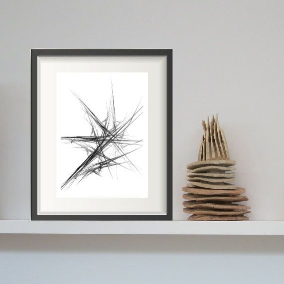 Black and White Abstract Art - Abstract PRINTABLE Art, Fractal Art