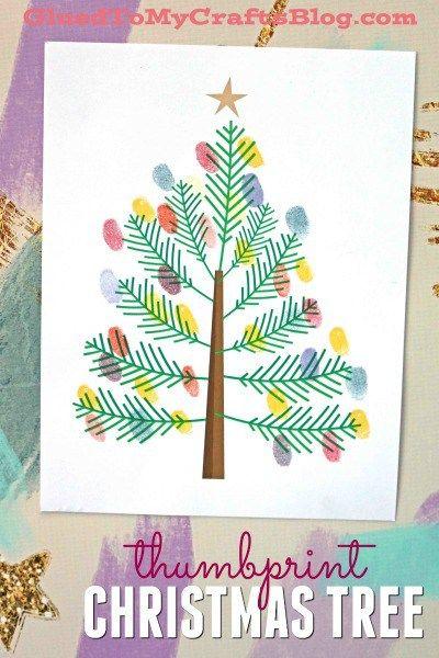 Thumbprint Christmas Tree - Kid Craft Idea w/free printable