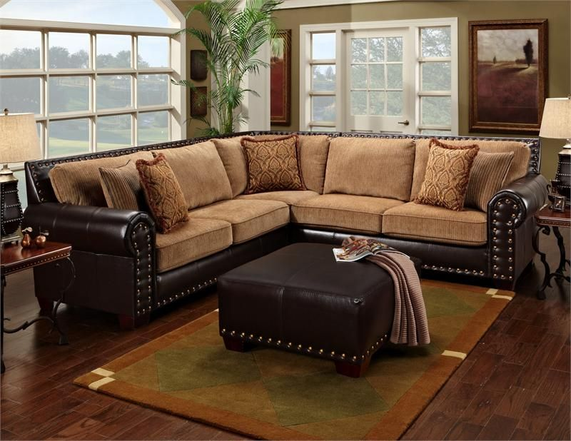 Amazing Traditional Brown U0026 Tan Sectional Sofa W/ Nailhead Accents 650 17 Leather  Sofa World Tan. Not The Colors I Wanted But The Idea Merges My And My  Husbandu0027s ...