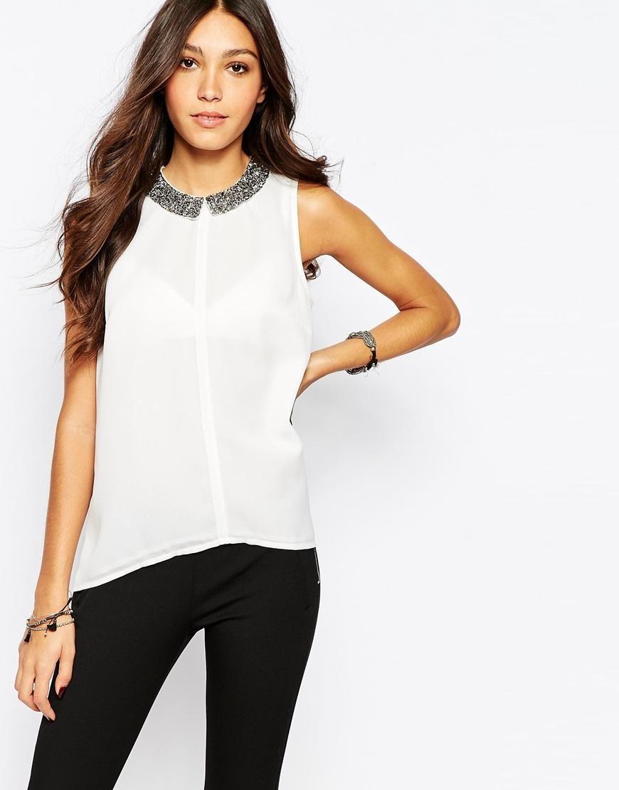 3dcb30d11242 Pimkie | Pimkie Embellished Collar Sleeveless Blouse at ASOS ...