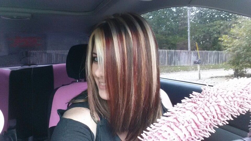 Brunette with a mix of blonde and red highlights pretty brunette with a mix of blonde and red highlights pretty pmtscharlotte via httphairstylesi201411medium brown hair color with blonde hi pmusecretfo Gallery