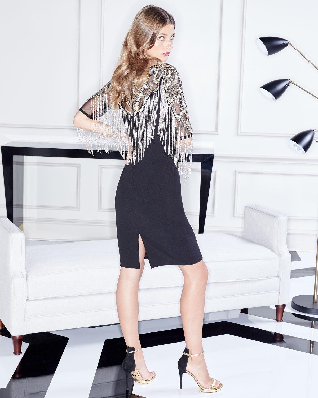 Aidan Mattox Beaded Cocktail Dress w/ Metallic Fringe | Women ...