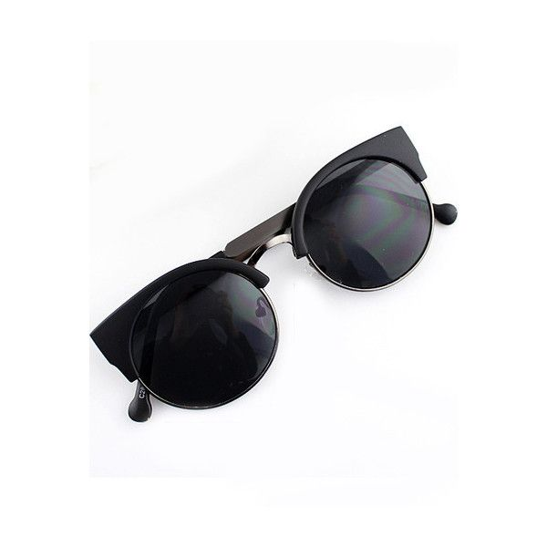 Black Cat Eyed Sunglasses (€18) ❤ liked on Polyvore featuring accessories,  eyewear, sunglasses, glasses and sheinside a82751c60da4
