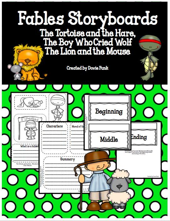 Fables Lapbook Lion Mouse Tortoise Hare Boy Cried Wolf Graphic