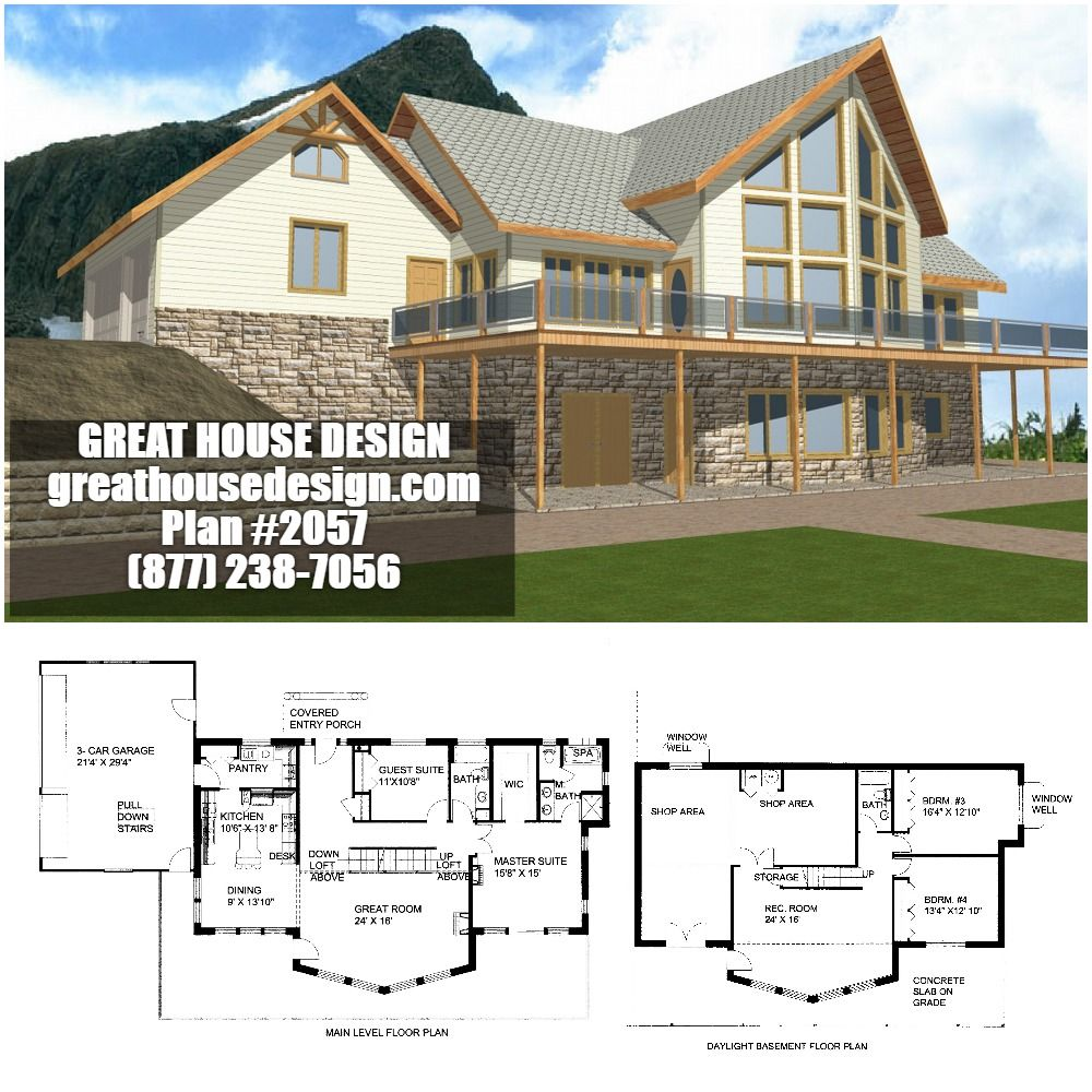 Northwest Style Waterfront ICF House Plan #2057 Toll Free ...