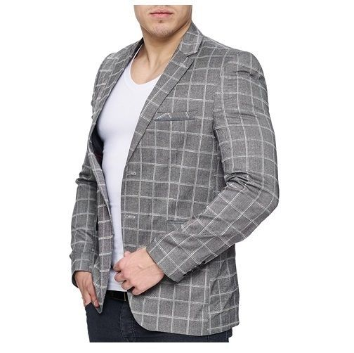 herrensakko sakko blazer anzug slim fit elegant casual einreiher grau kariert ideal fashion. Black Bedroom Furniture Sets. Home Design Ideas