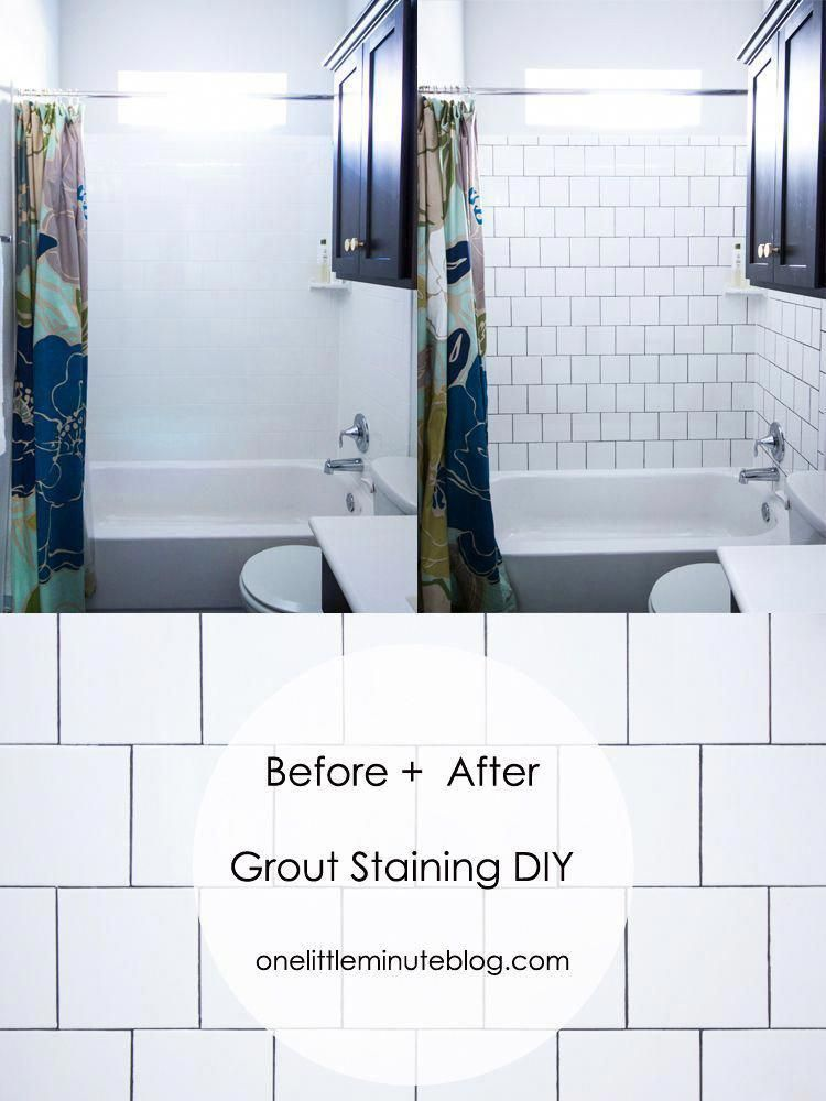 DIY Grout Staining Before and After homeremodelingdiy
