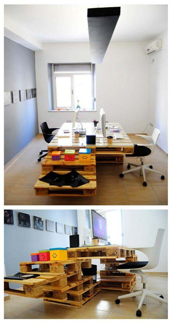 europaletten holz paletten möbel bastelideen DIY cool büro office ...