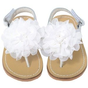 6ed97095fff34a Amazon.com  L Amour Toddler Girls 5 White Flower Thong Summer Sandals   L Amour  Shoes
