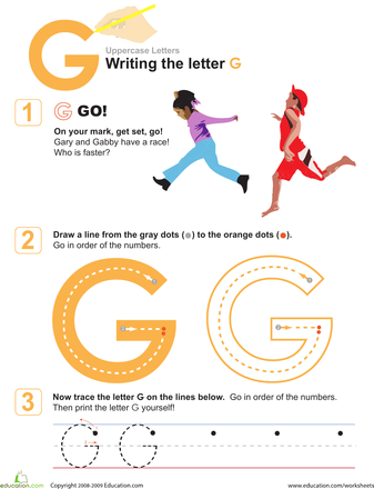 G Is For Go Practice Writing The Letter G Handwriting Sheets
