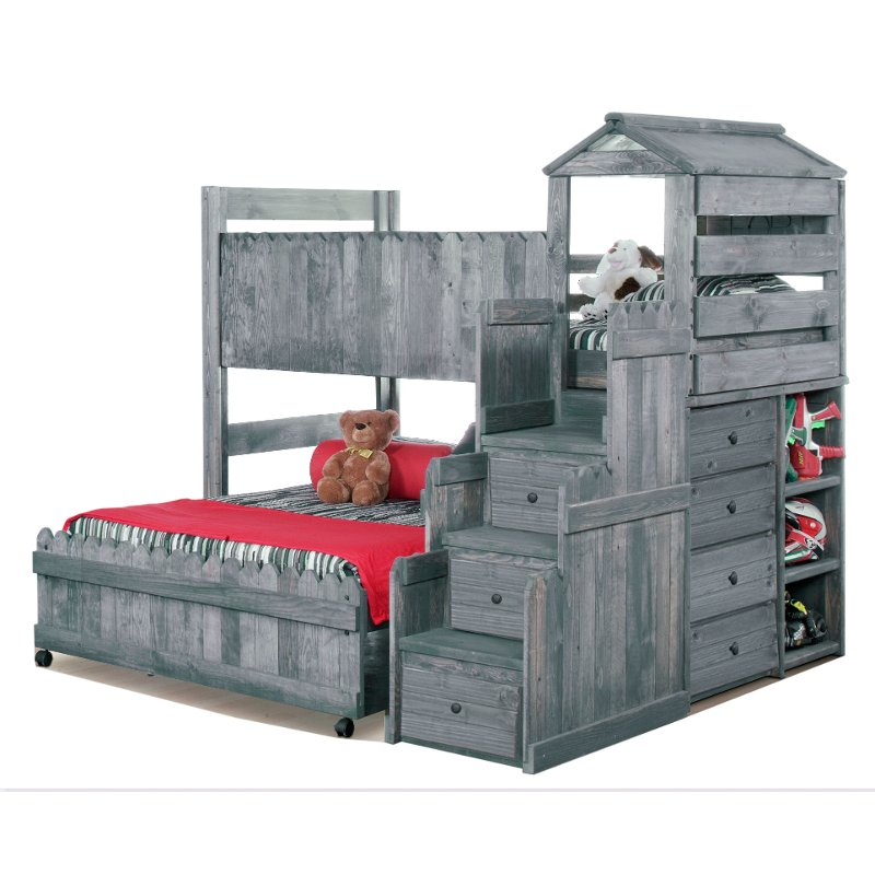 Driftwood Rustic Twin Over Full Loft Bed Fort Bunk Beds With Stairs Bunk Beds With Drawers Cool Bunk Beds