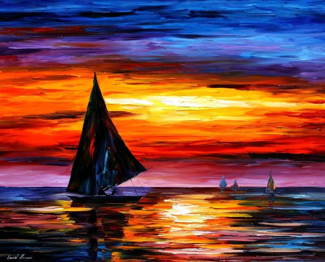 Away from the sunset palette knife oil painting on