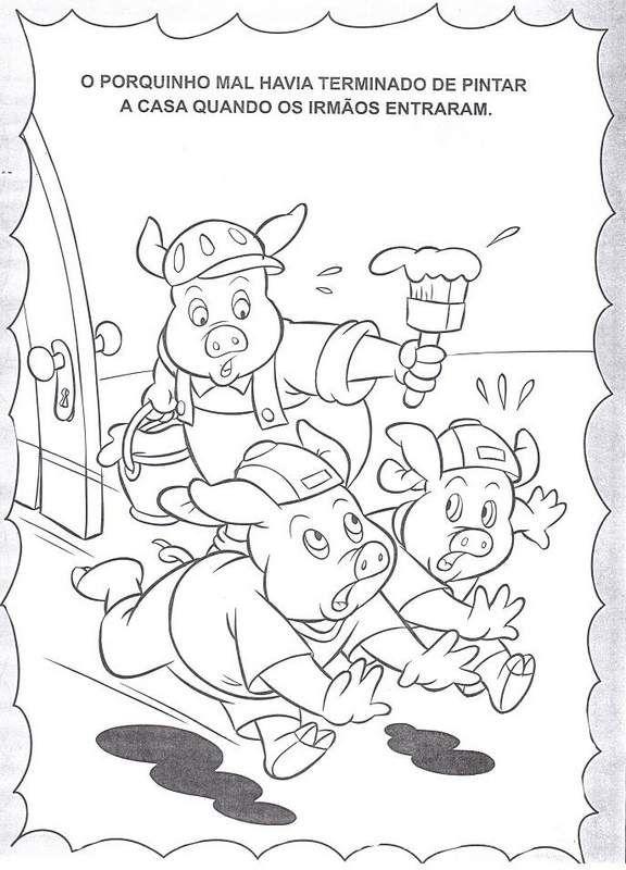 História dos Três Porquinhos para colorir   Três