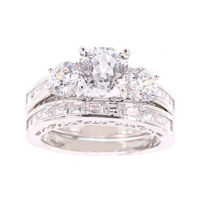 Fine Jewelry 100 Facets by DiamonArt Cubic Zirconia Sterling Silver 3-Ring Bridal Ring Set 8NvCE