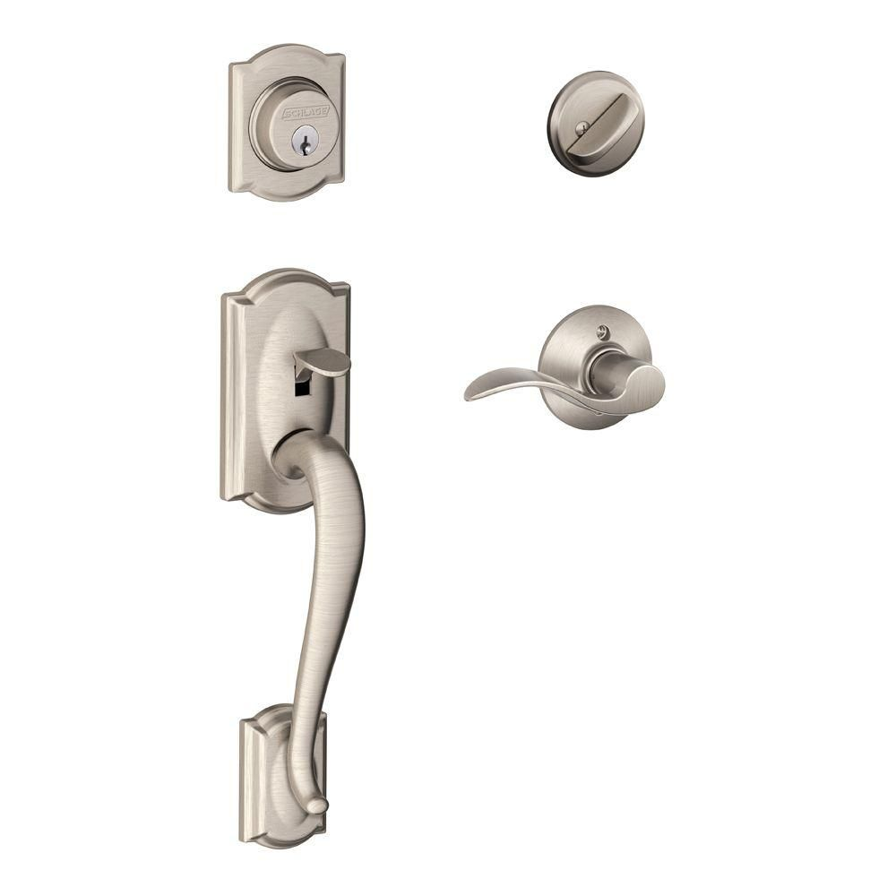 Schlage Camelot Satin Nickel Single Cylinder Deadbolt With Accent