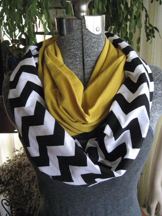 Black and Gold Color-Block Infinity Scarf - Mustard Yellow with Black & White Chevron Stripe - Jersey Knit Circle loop Scarf - ChevronScarf