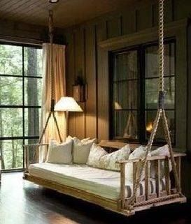 Sweet dreams make mine rustic pinterest porch for Log porch swing plans