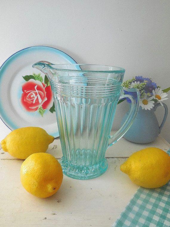 Art Deco vintage turguoise glass jug or pitcher by EmmaAtLHV