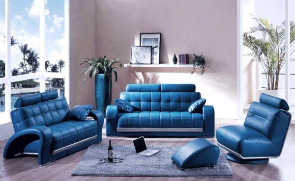 farbideen wohnzimmer blaue möbel leder Wohnzimmer Ideen - wohnzimmer couch leder