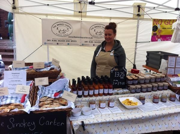 Mrs Smokey on the stall, line up line up and get trying out range of Artisan Chilli sauces and jams.