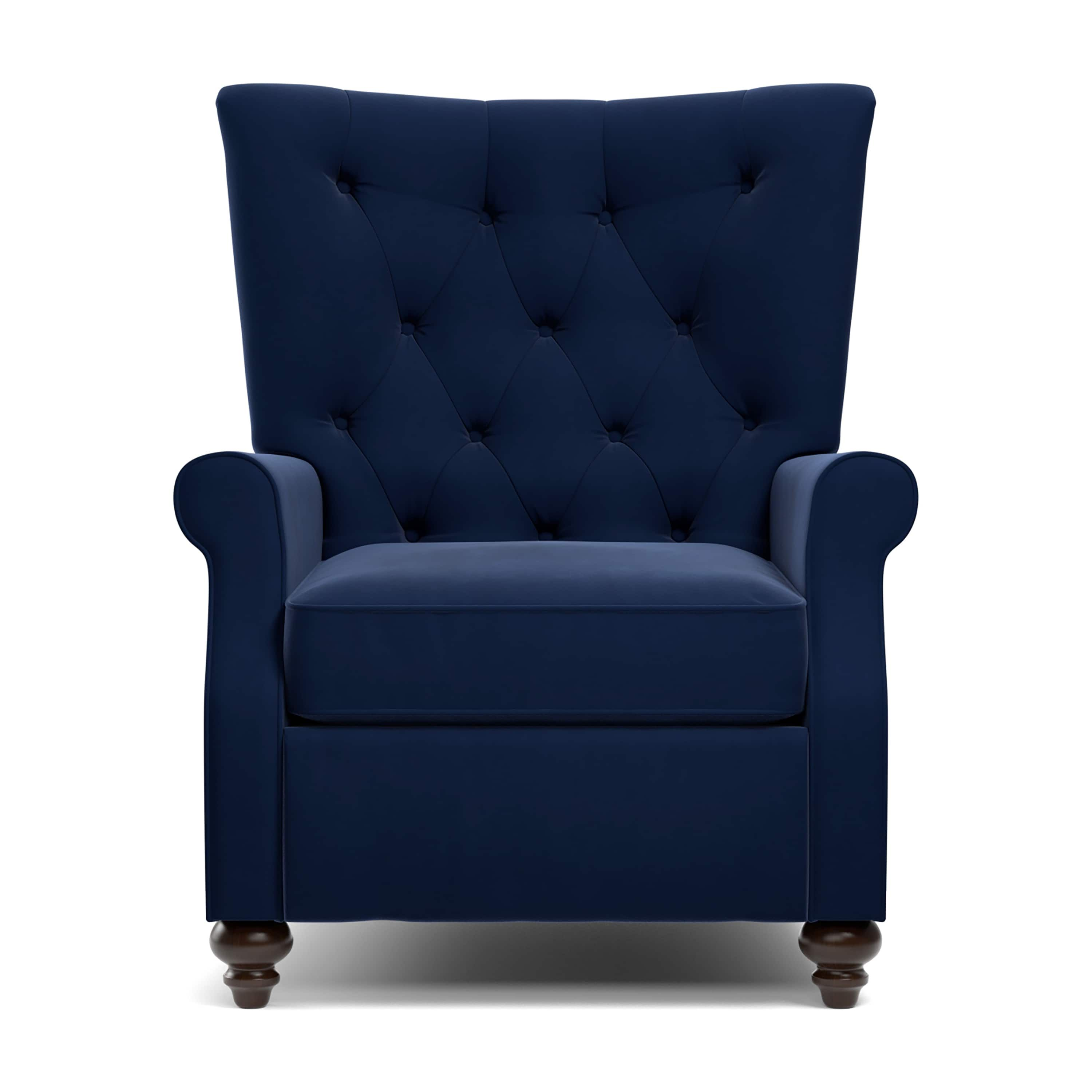 Moran Recliners Chairs Copper Grove Kamoya Navy Blue Velvet Push Back Recliner Chair
