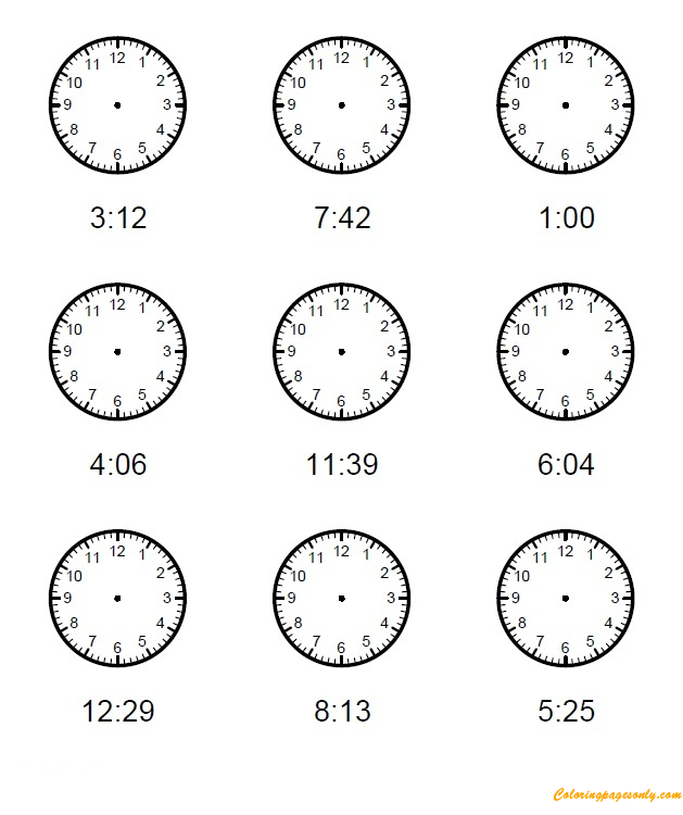 Kids Clock One Minute Intervals Coloring Page Coloring
