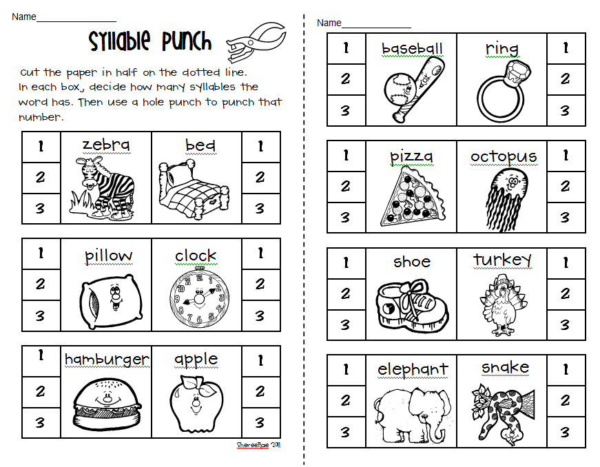 Syllables Worksheets Pdf Kindergarten Reviewwalls