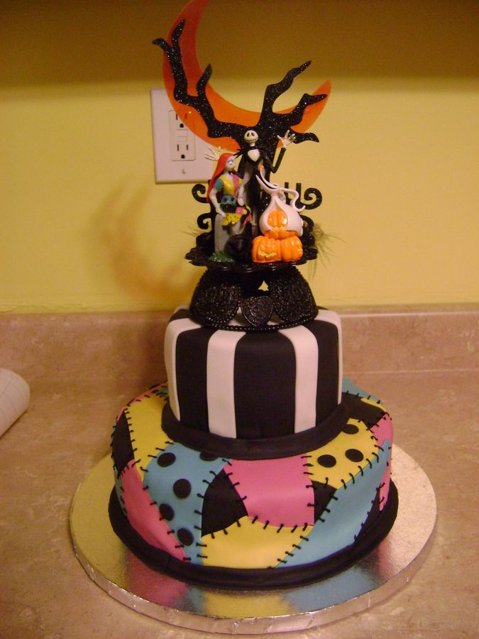 Nightmare Before Christmas Wedding Cake   This Cake Was Done For A  Halloween Wedding. The Theme Was Nightmare Before Christmas. The Bride  Provided The Cake ...