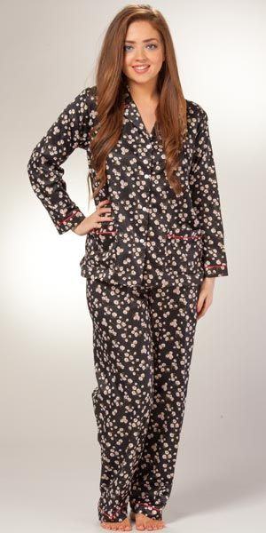 Brushed Back Satin Pajamas Miss Elaine PJ Set In Mystic Roses