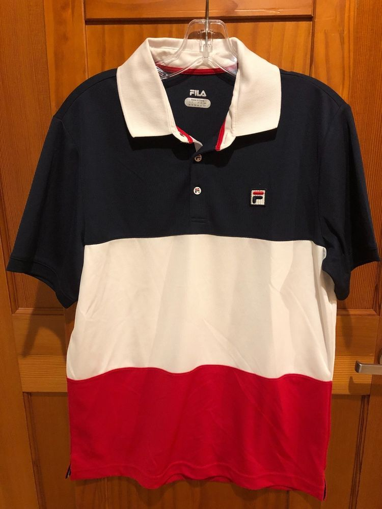 NEW FILA - Mens Heritage Tennis Polo Blue White Red Size ...