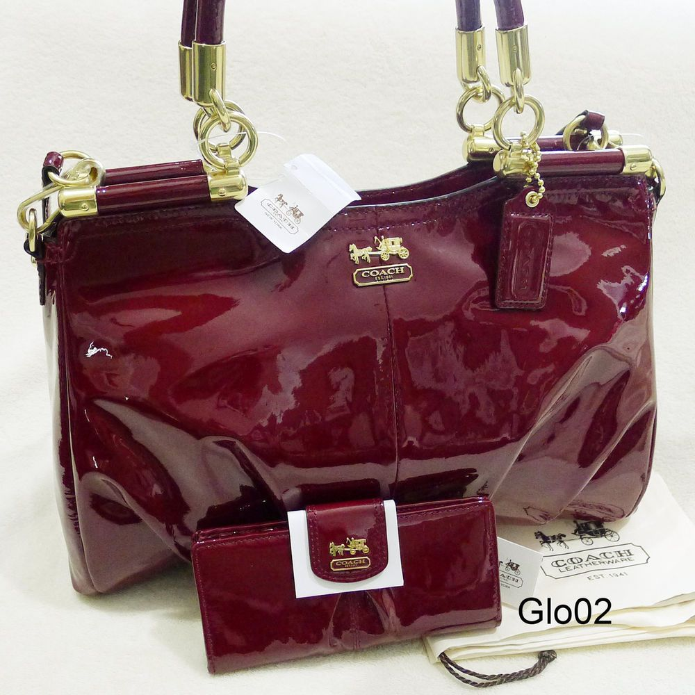 Nwt Coach Madison Pinnacle Crimson Red Patent Leather Carrie Satchel Bag Wallet
