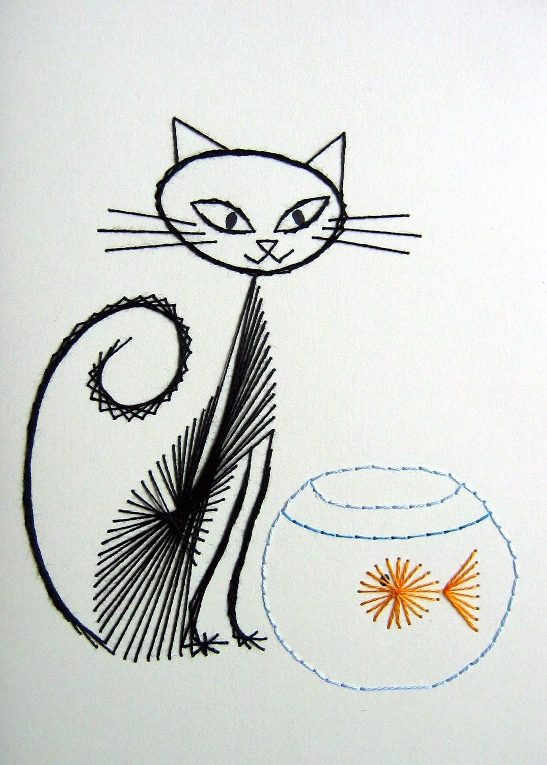 Cat card photos how fabulous are these retro inspired hand cat card photos how fabulous are these retro inspired hand stitched greeting cards kristyandbryce Image collections