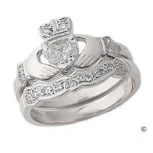 diamond claddagh engagement wedding ring sets take note babe - Claddagh Wedding Ring Sets