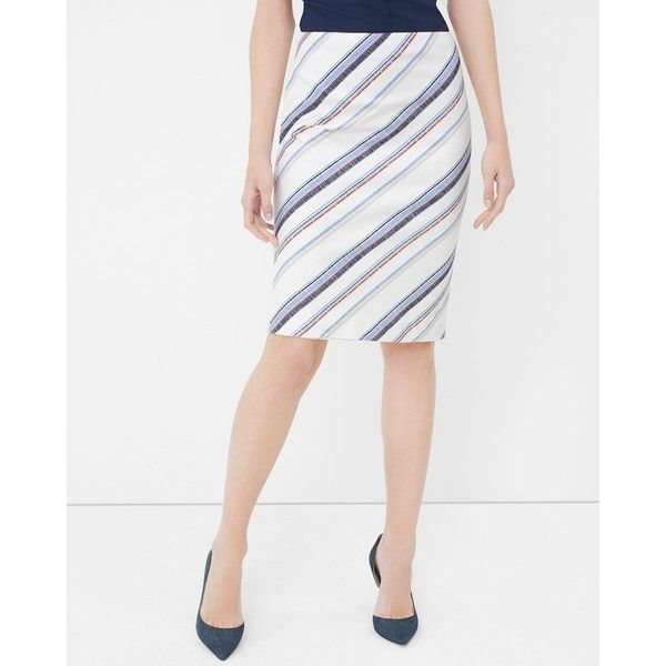 163481f69b White House Black Market Stripe Pencil Skirt ($70) ❤ liked on Polyvore  featuring skirts