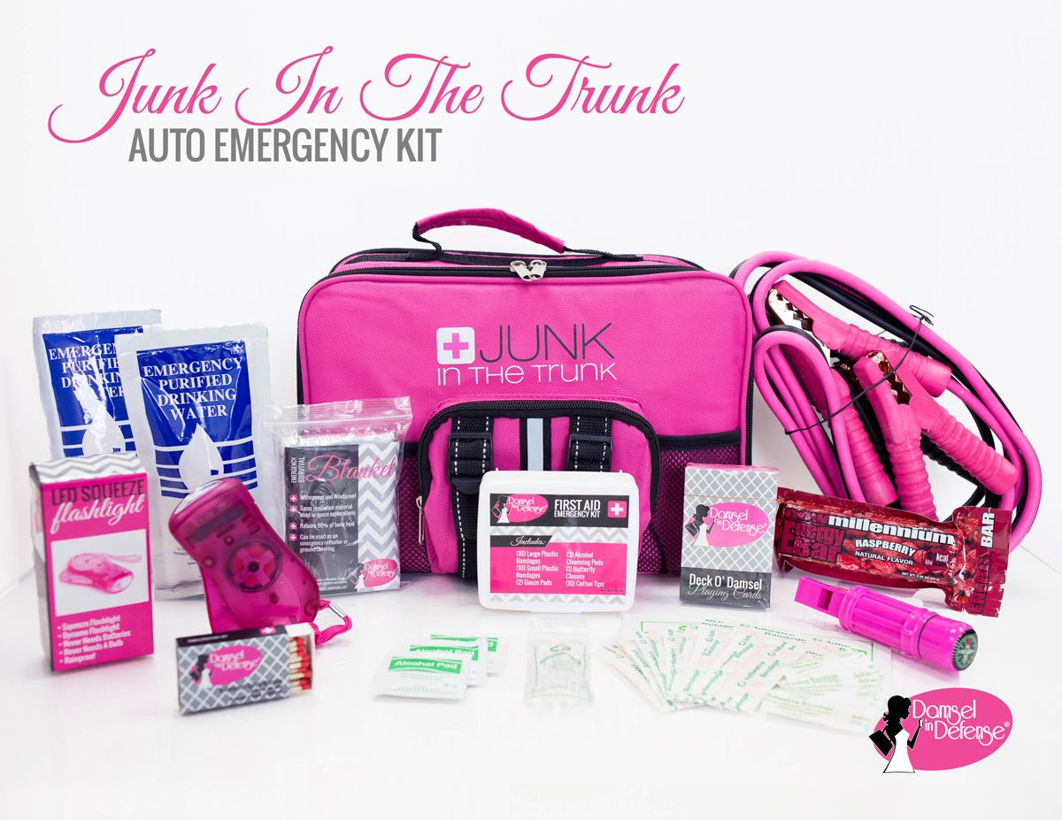 junk in the trunk roadside assistance kit 8 gauge pink black jumper cables first aid kit emergency blanket waterproof matches purified drinking water