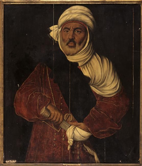 Moulay Hasan, sovereign Hafsid Tunis in 1526, dethroned in 1542, died in exile in Italy. Painted 4th quarter 16th century.