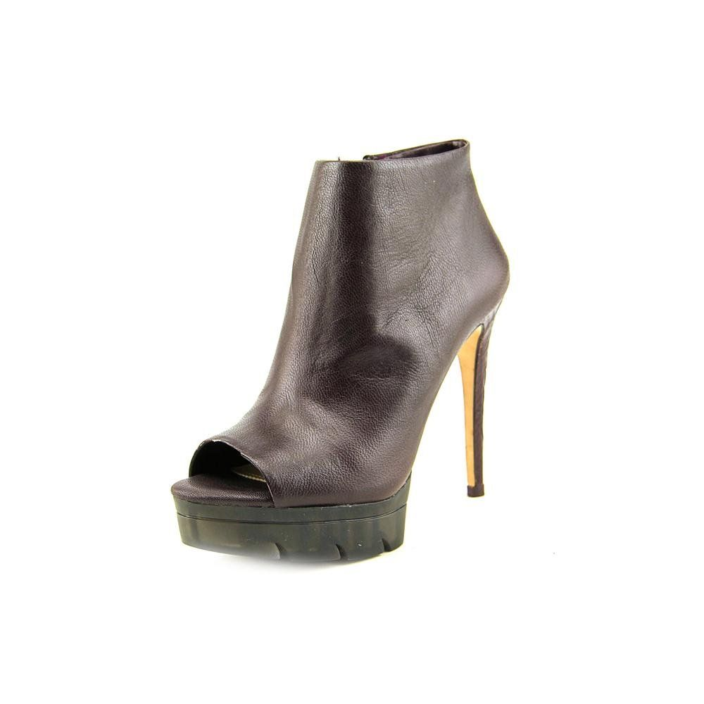 "BCBG Max Azria Hasten Women US 8.5 Purple Bootie. The style name is Hasten. The style number is HASTEN-MDNTPUR. Brand Color: Midnight Purple (Main Color: Purple). Material: Leather. Measurements: Shaft measures 3"", Circumference measures 8"" and 5"" heel. Width: B(M)."