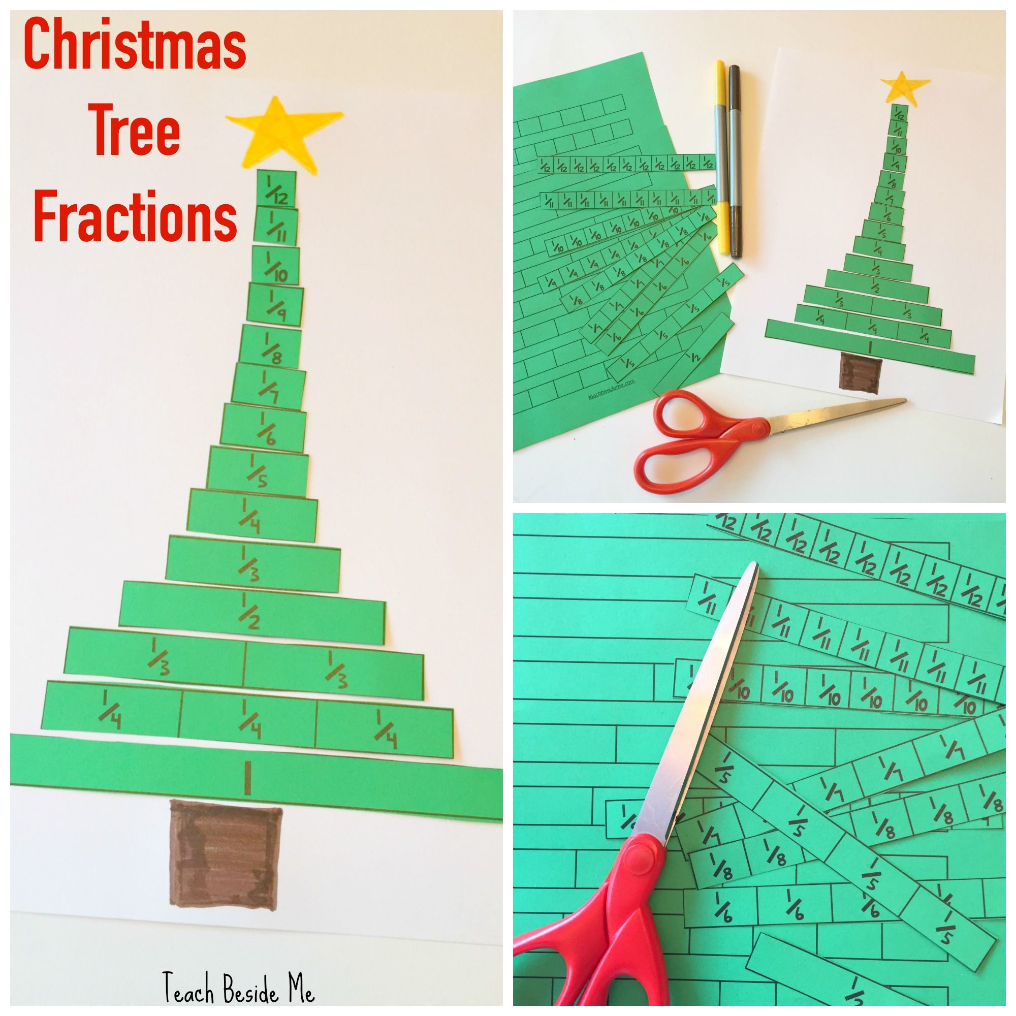 christmas tree fraction strips math education christmas math fractions sixth grade math. Black Bedroom Furniture Sets. Home Design Ideas