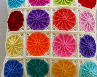 Items similar to granny square cushion cover / pillow cover in grey edging on Etsy