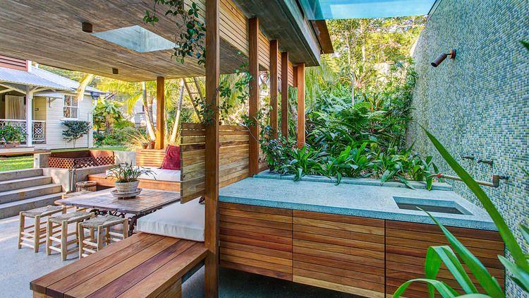Concrete benchtop with seeded quartz stone and undermount