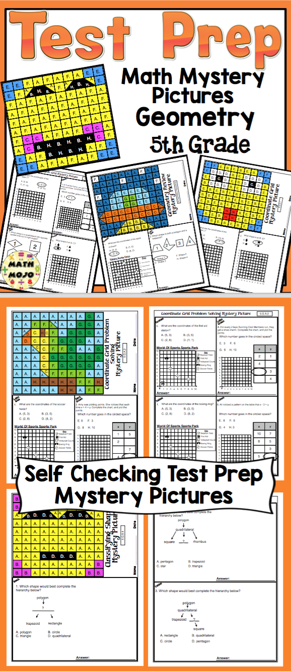5th Grade Math Test Prep Mystery Pictures - Geometry | Math test and ...