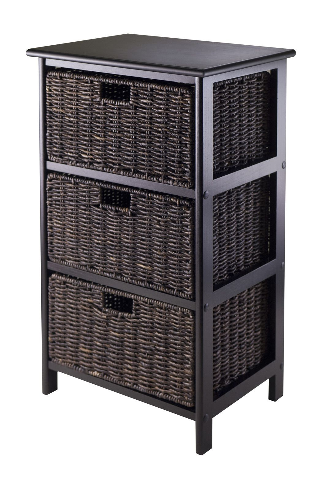 Winsome Omaha Storage Rack with 3 Foldable Baskets & Reviews - nighttable for my side of the bed